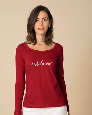 Shop C'est La Vie Scoop Neck Full Sleeve T-Shirt-Front