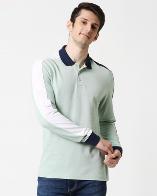Shop Camo Green Shoulder Sleeve Cut & Sew Polo-Front