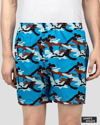 Shop What's Down | Camouflage Boxer Shorts | Blue Camo Boxers-Front