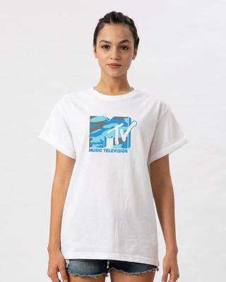 Shop Camouflage Mtv Logo Boyfriend T-Shirt (MTL)-Front