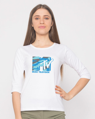 Shop Camouflage Mtv Logo Round Neck 3/4th Sleeve T-Shirt (MTL)-Front