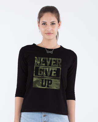 Shop Camouflage Never Give Up Round Neck 3/4th Sleeve T-Shirt-Front