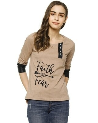 Shop Campus Sutra Casual 3/4 Sleeve Printed Women Brown Top-Front