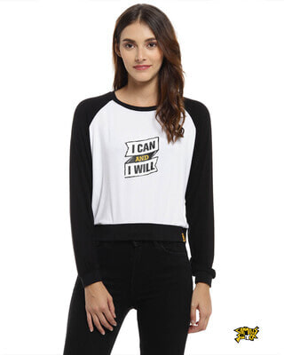 Shop Campus Sutra Casual Full Sleeve Printed Women White, Black Top-Front