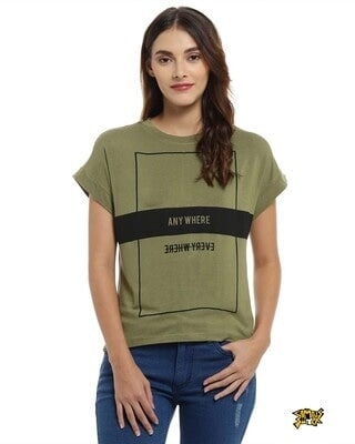 Shop Campus Sutra Casual Shorts Sleeve Printed Women Olive Top-Front