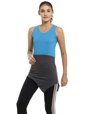 Shop Campus Sutra Casual Sleeveless Solid Women Blue Top-Front