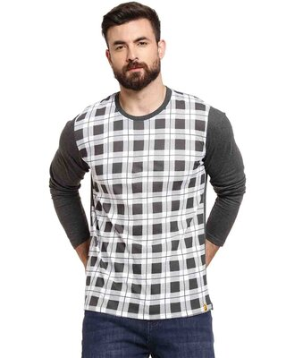 Shop Campus Sutra Full Sleeve Checkered Printed Men Round White T-Shirt-Front