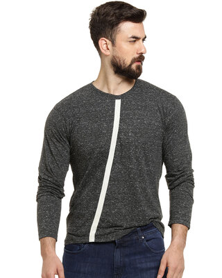 Shop Campus Sutra Full Sleeve Men Solid Round Neck Grey T-Shirt-Front