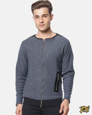 Shop Campus Sutra Full Sleeve Solid Men Casual Zipper Jacket-Front