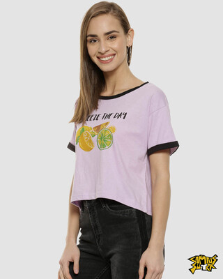 Shop Campus Sutra Lavender Stylish Printed Tops-Front