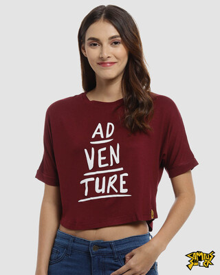 Shop Campus Sutra Maroon Printed Casual Crop Top-Front