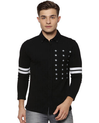 Shop Campus Sutra Men Black Regular Fit Solid Casual Shirt-Front