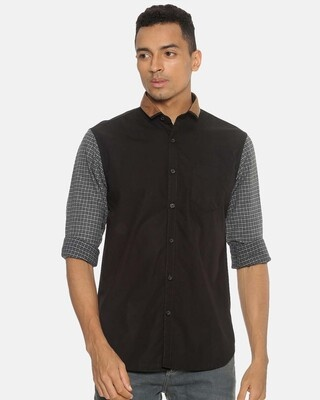 Shop Campus Sutra Men Brown Neck Shirt-Front