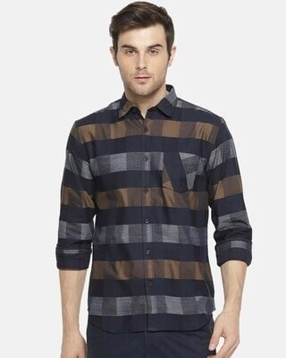 Shop Campus Sutra Men Checkered Casual Spread Shirt-Front