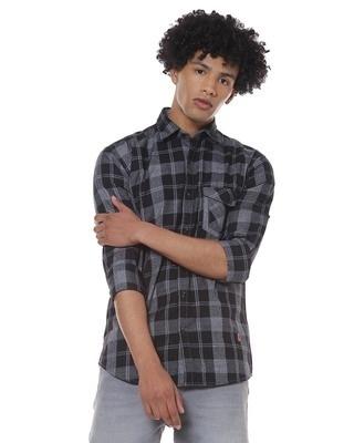 Shop Men Checks Casual Spread Shirt-Front