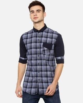 Shop Men Checks Purple Casual Spread Shirt-Front