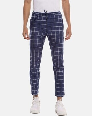 Shop Campus Sutra Men Checks Stylish Casual & Evening Trackpant-Front