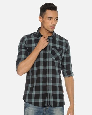 Shop Campus Sutra Men Checks Stylish Casual Shirts-Front