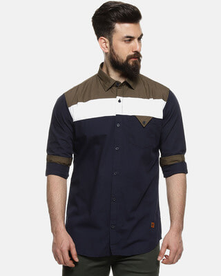 Shop Men Color Block Casual Spread Shirt-Front