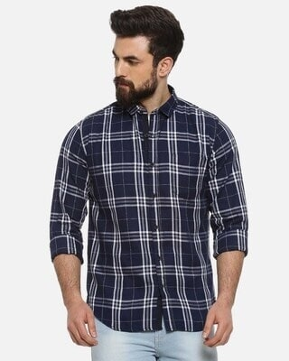 Shop Men Full Sleeve Spread Collar Checks Stylish Casual Shirts-Front