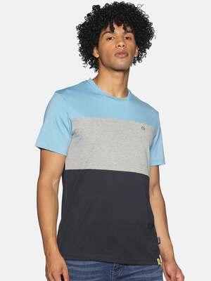 Shop Campus Sutra Men Half Sleeve Stylish Colourblock Casual T-Shirts-Front