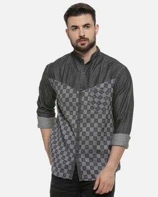 Shop Campus Sutra Men Mandarin Collar Shirt-Front