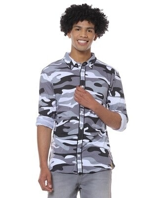 Shop Men Military Camouflage Casual Spread Shirt-Front