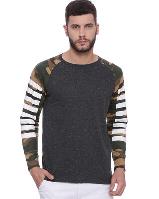 Shop Campus Sutra Men's Camouflage Full Sleeve T-shirt-Front