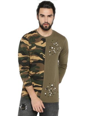Shop Campus Sutra Men's Half Camouflage Full Sleeve T-shirt-Front