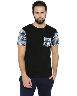 Shop Campus Sutra Men's Sleeve Flower printed T-shirt-Front