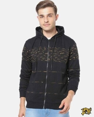 Shop Campus Sutra Men Stylish Camouflage Casual Hooded Sweatshirt-Front