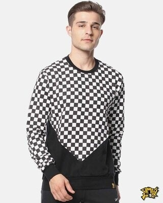 Shop Campus Sutra Full Sleeve Checks Men Stylish Casual Sweatshirt-Front