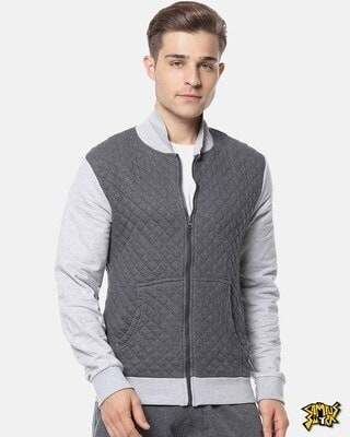 Shop Campus Sutra Men Full Sleeve Solid Zipper Sweatshirt-Front