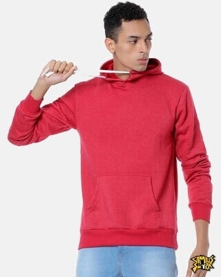Shop Campus Sutra Men Stylish Solid Casual Hooded Sweatshirt-Front