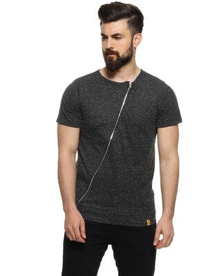 Shop Campus Sutra Men Self Design Asymmetric Charcoal Casual T-Shirt-Front