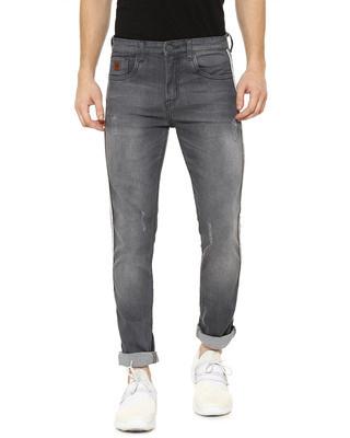 Shop Campus Sutra Men Side Striped Slim Fit Casual Denim Jeans-Front