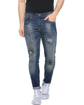 Shop Campus Sutra Men Slim Fit Solid Front Applique Stretch Stylish New Trends Blue Denim Jeans-Front