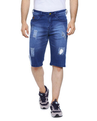 Shop Campus Sutra Men Slim Fit Solid Side Striped Stretch Stylish New Trends Blue Denim Shorts-Front