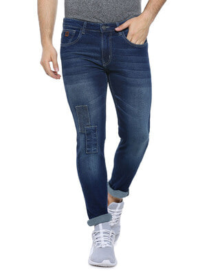 Shop Campus Sutra Men Slim Fit Solid Stretch Stylish New Trends Blue Denim Jeans-Front