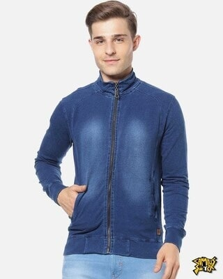 Shop Campus Sutra Men Solid Stylish Casual Denim Jacket-Front