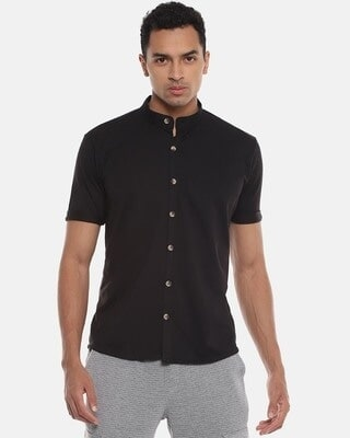 Shop Campus Sutra Men Solid Stylish Half Sleeve Casual Shirts-Front