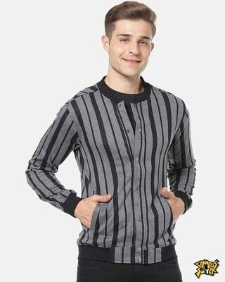 Shop Campus Sutra Men Striped Stylish Casual Jacket-Front