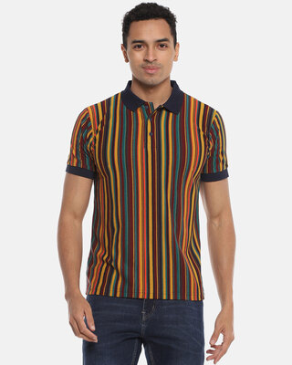 Shop Campus Sutra Men Striped Stylish Casual Polo T-Shirt-Front