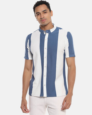 Shop Campus Sutra Men Striped Stylish Half Sleeve Casual Shirts-Front