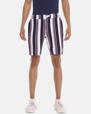 Shop Campus Sutra Men Striped Stylish Sports & Evening Shorts-Front
