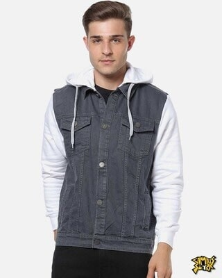 Shop Campus Sutra Men Stylish Casual Denim Jacket-Front
