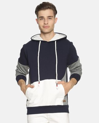 Shop Campus Sutra Men Stylish Color Blocked Casual Hooded Sweatshirts-Front