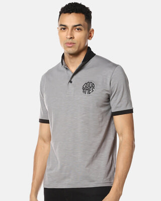 Shop Campus Sutra Men Stylish Print Polo Neck Casual T-Shirt-Front