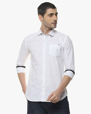 Shop Campus Sutra Men Stylish Solid Full Sleeve Casual Shirts-Front