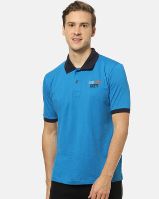 Shop Campus Sutra Men Stylish Solid Polo Casual T-Shirt-Front
